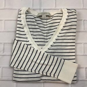 Loft Black & White Striped Sweater